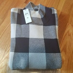 NWT Ann Taylor Mock Neck Elbow Sleeve Plaid Sweate